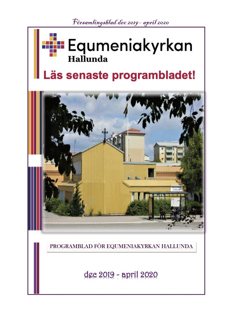 Programblad december 2019 - april 2020 Equmeniakyrkan Hallunda